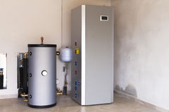 Heat pump air - water for heating. In the boiler room Royalty Free Stock Images
