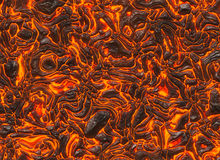 Heat red lava texture of eruption volcano Stock Photos