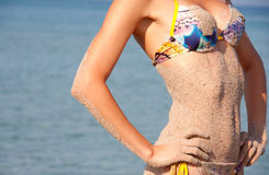 Heat, sea, sand and bikini woman Royalty Free Stock Photos