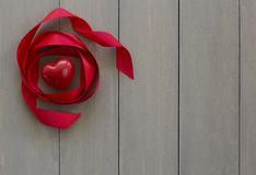 Heart Shaped Red Stone with Ribbon stock image