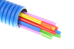 Heat shrink tubing in corrugated pipe electrical installations Royalty Free Stock Images