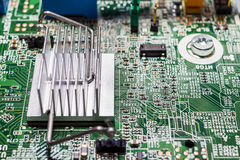 Heat Sink attached to Printed Circuit Board (PCB) Stock Images