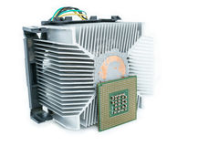 Heat-sink with cpu in isometric. Bottom view Royalty Free Stock Photos