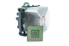 Heat-sink with cpu in isometric. Bottom view Royalty Free Stock Images
