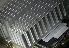 Heat sink. Detail of a heat sink on a motherboard Stock Image