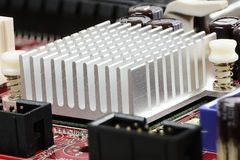 Heat Sink. On the mainboard of a computer Royalty Free Stock Photo