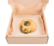 Heat spinach puff cake in cardboard box. Royalty Free Stock Image
