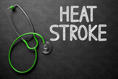 Heat Stroke Concept on Chalkboard. 3D Illustration. Medical Concept: Heat Stroke -  Black Chalkboard with Hand Drawn Text and Green Stethoscope. Top View Royalty Free Stock Images