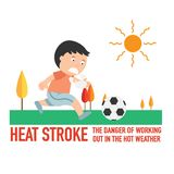 Heat stroke,The dangers of working out in the hot weather. stock illustration