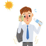 Heat stroke office worker. The office worker who it is hot, and suffers from heat stroke Royalty Free Stock Images