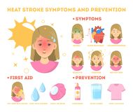 Free Heat Stroke Symptoms And Prevention Infographic. Risk Stock Image - 146822041