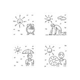 Heat stroke vector. Vector linear illustration of the safety of a person on the sun. symptoms of heat stroke and measures of human security Stock Image