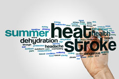 Heat stroke word cloud. Concept on grey background Stock Photography