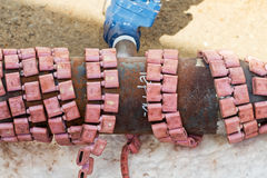 Heat treatment of welded joints Royalty Free Stock Photos