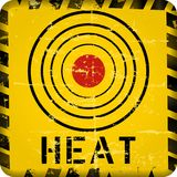 Heat warning sign, grungy style vector illustration. Climate change, summer heat, drought concept stock illustration