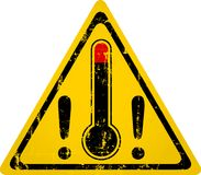 Heat warning sign with thermometer, grungy style vector. Illustration. Climate change, summer heat concept stock illustration
