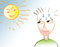 Heat Wave. A man sweating under an angry sun depicting a heat wave or a very hot summer day Stock Photography