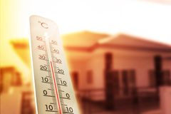 Heat wave in the house thermometer shows in summer
