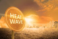 Heat wave concept. Heat wave sign on the city. Heat wave concept Stock Photos