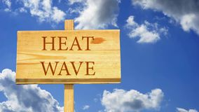 Heat wave. Words on a wooden sign against time lapse clouds in the blue sky vector illustration