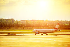 Heat waves distort jet airplane that is on the runway prior to d Royalty Free Stock Photography