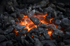 Heated coals Stock Photo