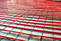 Heated floor installation Stock Images