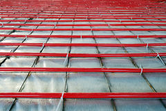 Heated floor installation Stock Photos