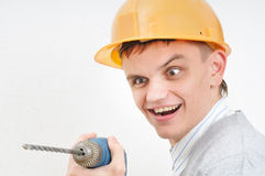 Heated man with drill Royalty Free Stock Images