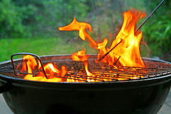 The heated mangal. With pulled out fire Stock Image