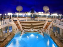 Heated pool. On the cruise ship at night Stock Image