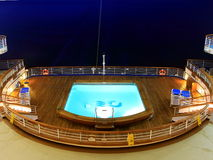 Heated pool. Heted pool on the cruise ship at night Stock Images
