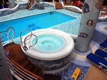 Heated pool on the cruise ship. Indoor heated pool on the cruise ship with hot water inside Royalty Free Stock Images
