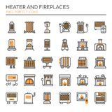 Heater and Fireplaces , Thin Line and Pixel Perfect Icons. Heater and Fireplaces elements , Thin Line and Pixel Perfect Icons Stock Image