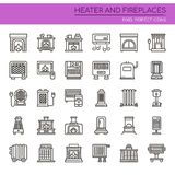 Heater and Fireplaces. Thin Line and Pixel Perfect Icons Royalty Free Stock Images