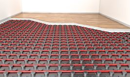 Heater floor system. Detail of heater floor panel and wood parquet 3d rendering image Royalty Free Stock Photography