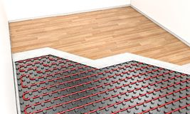 Heater floor system. Wood parquet and heater floor system 3d rendering image Stock Photos