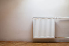 Heater. Heating of the home in winter, white heater stock images