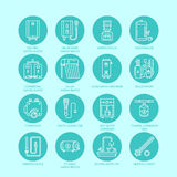 Heater, water boiler, thermostat, electric, gas, solar heaters and other house heating equipment line icons. Thin linear. Pictogram with editable strokes for royalty free illustration