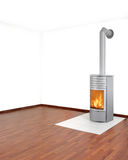 Heater. Wood fired heater burning in living room royalty free stock photo
