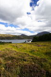 Heath and house in the highlands, Scotland royalty free stock photos