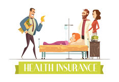 Heath Insurance Agent Work Cartoon Illustration. Health insurance police payment plan covers child treatment and food cartoon illustration with happy  visiting Royalty Free Stock Photo