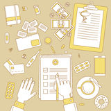 Heath insurance. Health insurance illustration. Medical financial line design Stock Photos