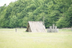 Heathen shack- building partialy in ground, Pohansko, Czech republik Stock Photo
