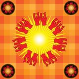 Heathen sun. Stylized image of the sun god vector illustration