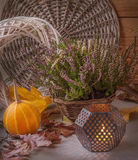 Heather in a basket next to a candle Royalty Free Stock Images