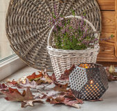 Heather on the white basket next to a candle Royalty Free Stock Photo