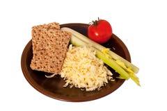 Heathful snack of Cheddar, celery & tomato Royalty Free Stock Photos