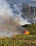 Heathland Fire. Severe heathland fire in Dorset, UK Stock Photos