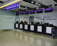 Heathrow Airport BA Customer Service Desk. Departure lounge Customer Service at Heathrow terminal Stock Images
